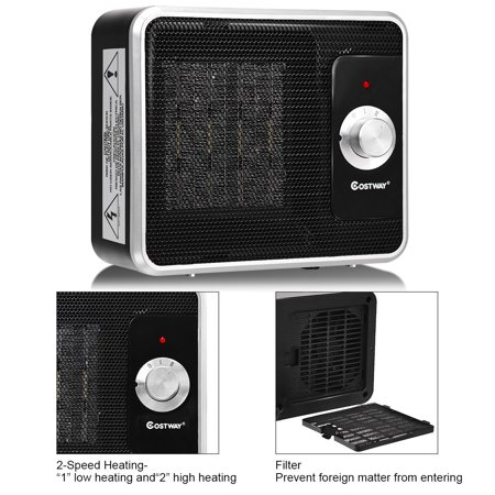 Costway 1200W Portable Electric PTC Space Heater Safety Shut-Off Tilt Protection Office - image 2 de 10