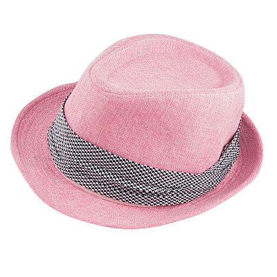 Man Woman Roll Up Brim Houndstooth Woven Pattern Fedora Hat 58cm Pink