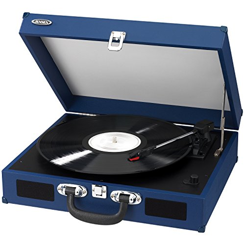 Jensen JTA-410-BL Portable 3-Speed Stereo Turntable with Built-In Speakers (Blue) by Jensen