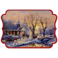 Hallmark Church and Lighted Road: Thomas Kinkade Box of 16 Die Cut Christmas Cards