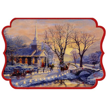 Hallmark Church and Lighted Road: Thomas Kinkade Die Cut Christmas