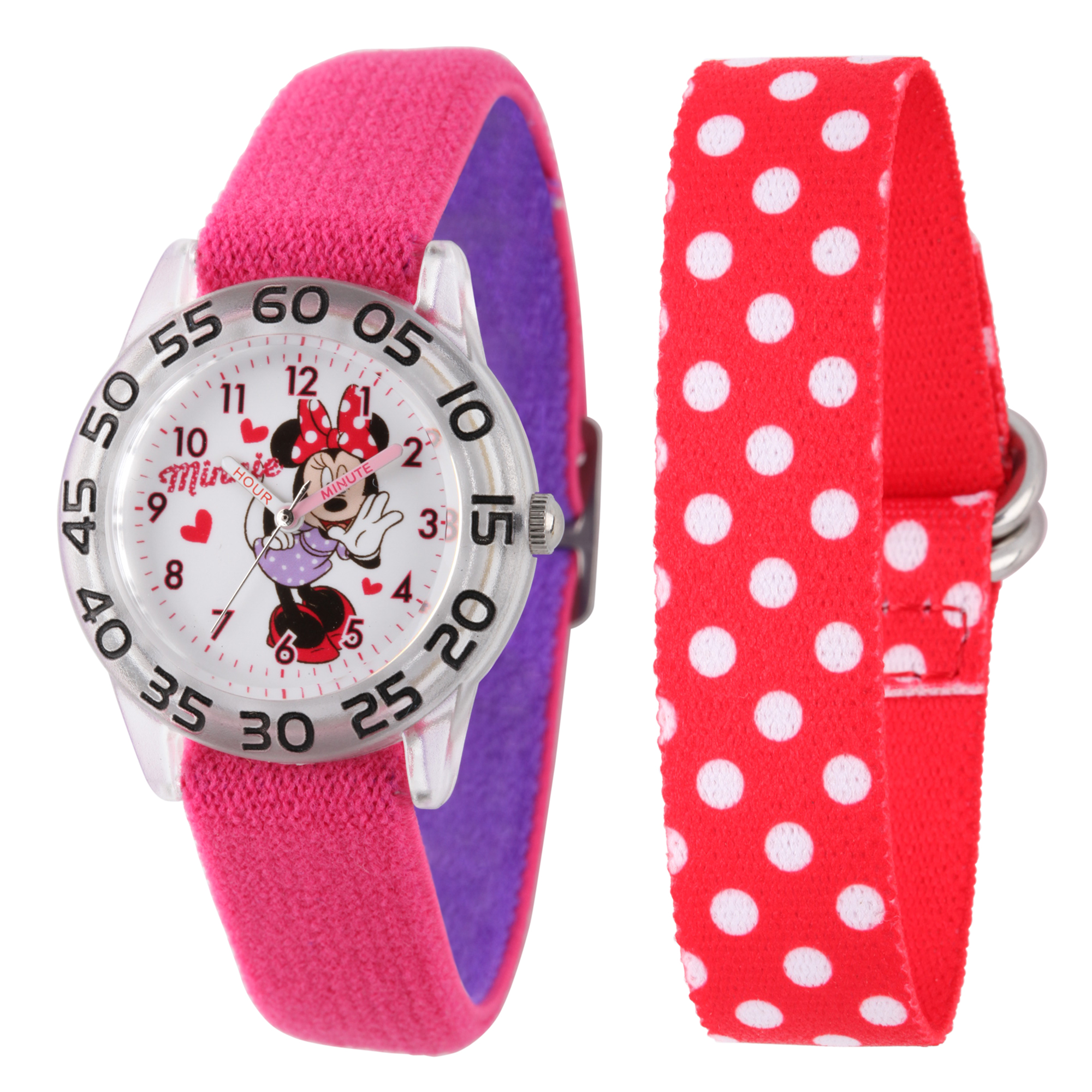 Minnie Mouse Girls' Plastic Time Teacher Interchangeable Strap Watch, Red Nylon Strap & Double Color Pink w/Purple Elastic Nylon Strap