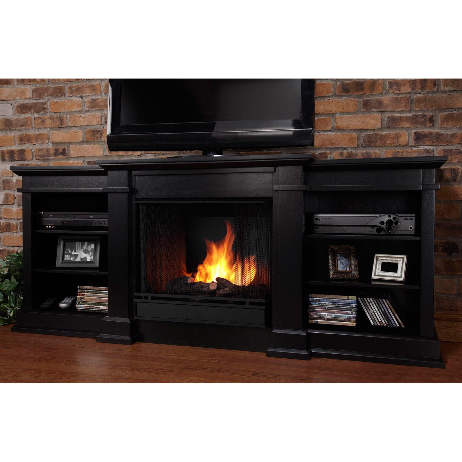 Real Flame Fresno Ventless Gel Fireplace - Black
