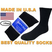 Creswell 3 Pairs Of Mens Black Diabetic Crew Socks 10-13 Size MADE IN USA