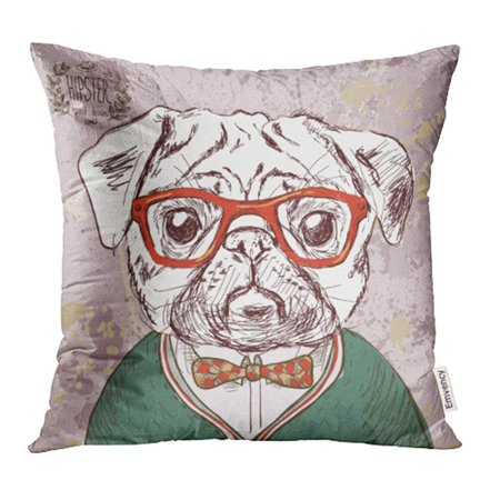 ARHOME Brown Retro Vintage Hipster Pug Dog Glasses Bow Painting Pet Pillowcase Cushion Cases 20x20 (Ear Cushions For Glasses)