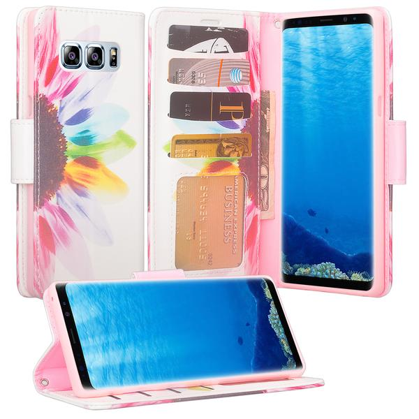 Galaxy Note 8 Case, Samsung Galaxy Note 8 Wallet Case, Wrist Strap [Kickstand] Pu Leather Wallet Case with ID & Card Slots & Pocket + Wrist Strap for Galaxy Note 8 - Sun Flower