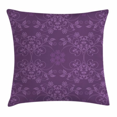 Purple Accent Pillows (Eggplant Throw Pillow Cushion Cover, Gorgeous Well-Formed Flowers on Purple Background Damask Floral Arrangement Ornament, Decorative Square Accent Pillow Case, 16 X 16 Inches, Violet, by)