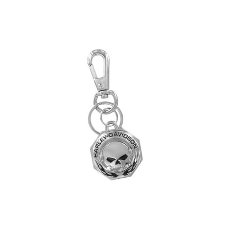 Harley-Davidson Chrome Willie G skull H-D Wordmark & Flames Key chain