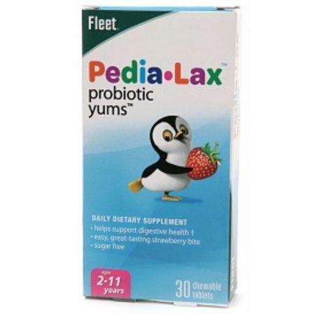 Fleet Pedia-Lax probiotique Yums Complément alimentaire à croquer Fraise 30 Comprimés (Pack de 4)