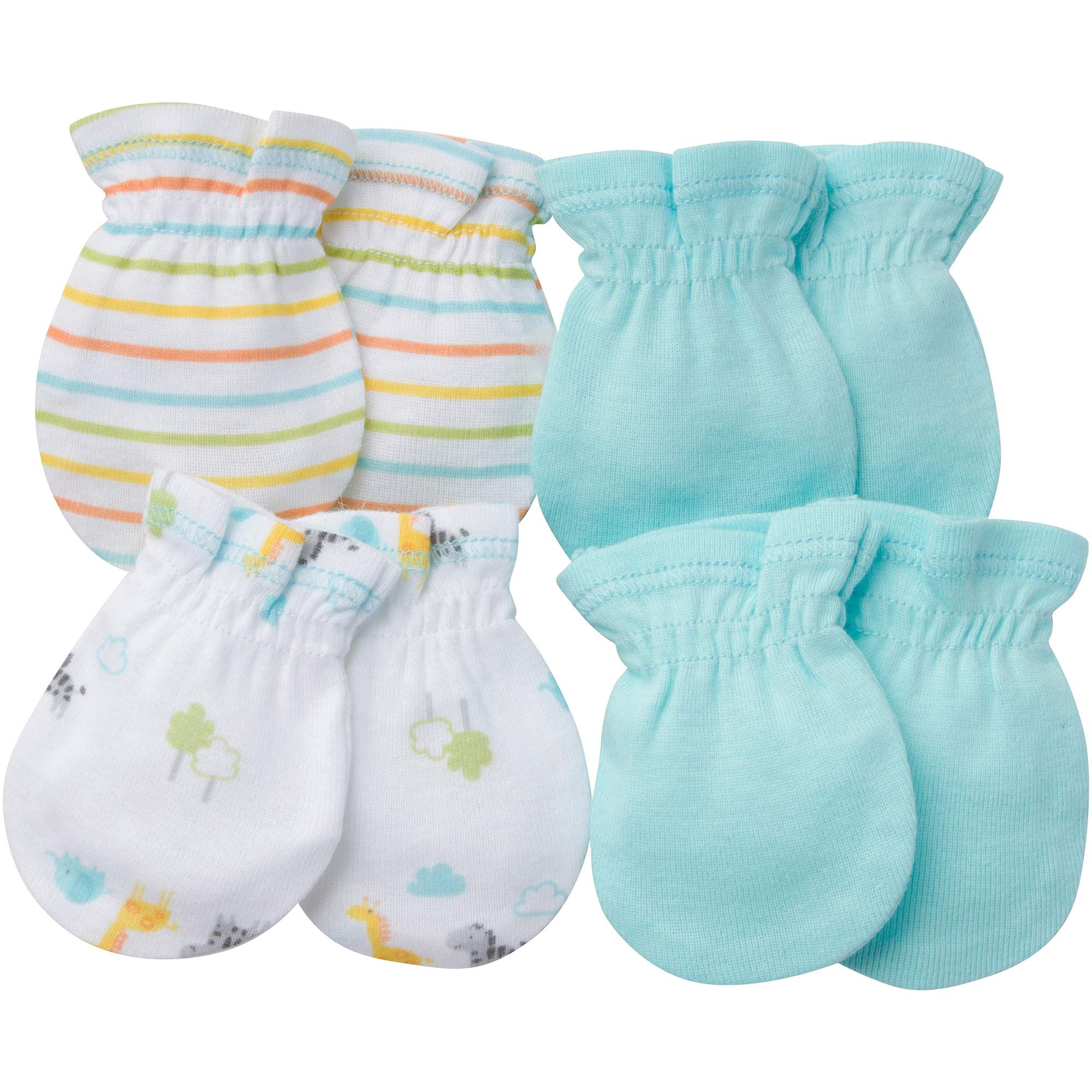 Image of Gerber Newborn Baby Boy or Girl Unisex Assorted Mittens, 4-Pack