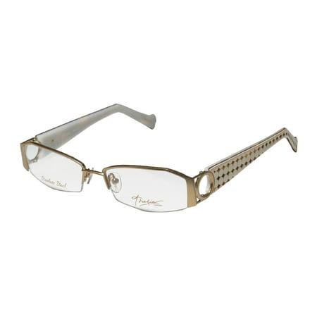 New Thalia Anillos Womens/Ladies Designer Half-Rim Gold / Ivory Stainless Steel Popular Shape Frame Demo Lenses 52-16-133 (Knock Off Designer Eyeglass Frames)