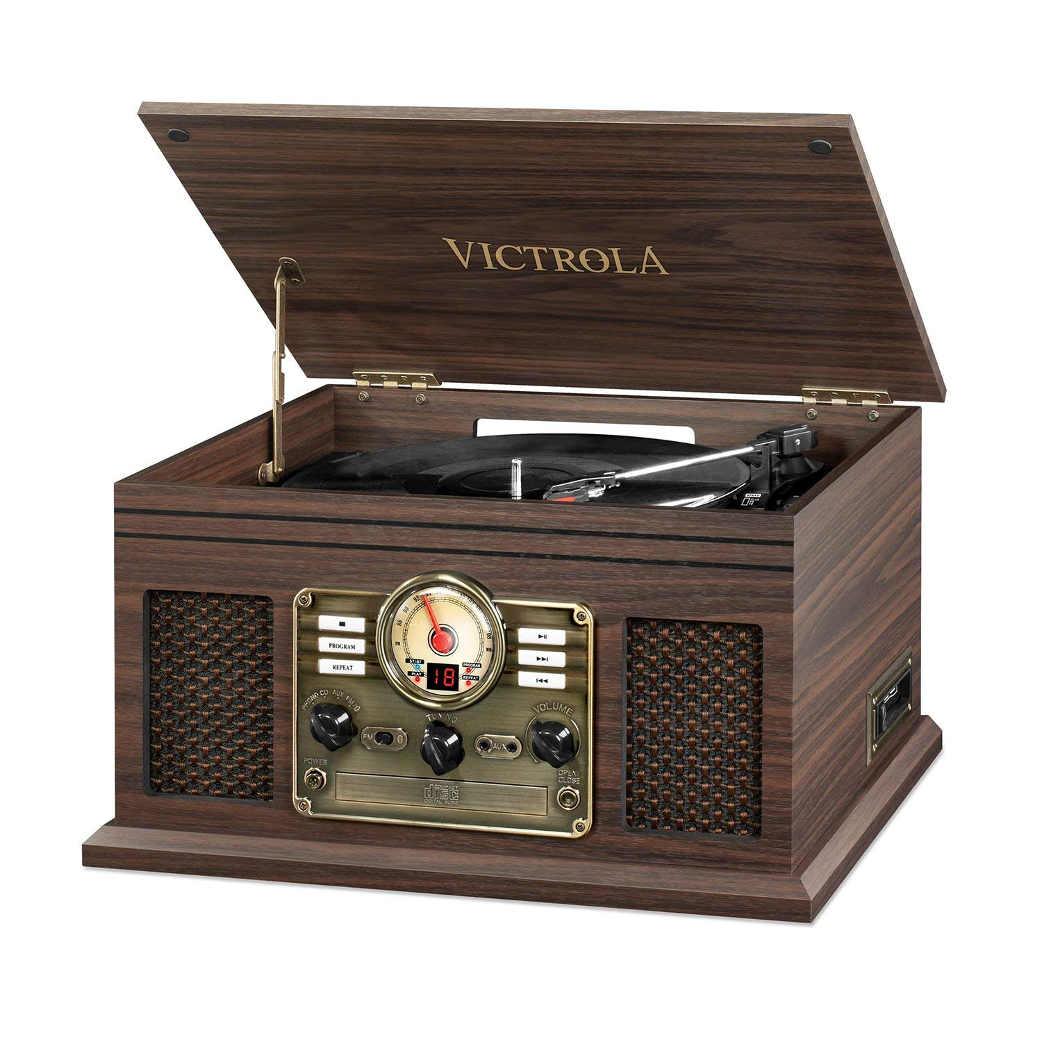 Victrola Nostalgic Classic Wood 6-in-1 Bluetooth Turntable Entertainment Center, Espresso  (Certified Refurbished)