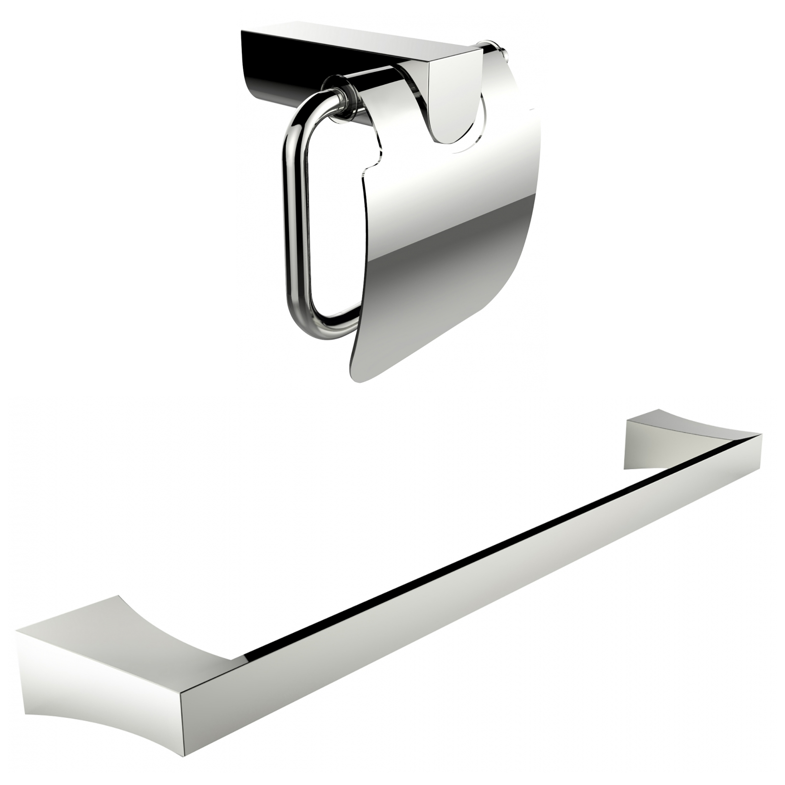 Chrome Plated Toilet Paper Holder With Single Rod Towel Rack Accessory Set by American Imaginations