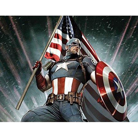 Captain America Edible Image Photo Cake Topper Sheet Birthday Party - 1/4 Sheet - 14948 - Captain America Party