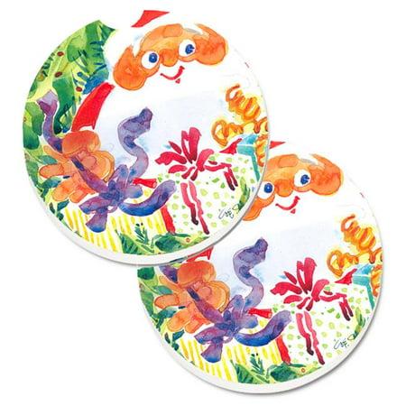 Santa Claus Christmas Surprise Set of 2 Cup Holder Car Coaster - image 1 de 1