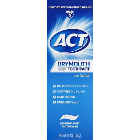 - ACT Dry Mouth Anticavity Fluoride Toothpaste, Soothing Mint, 4.6 Oz