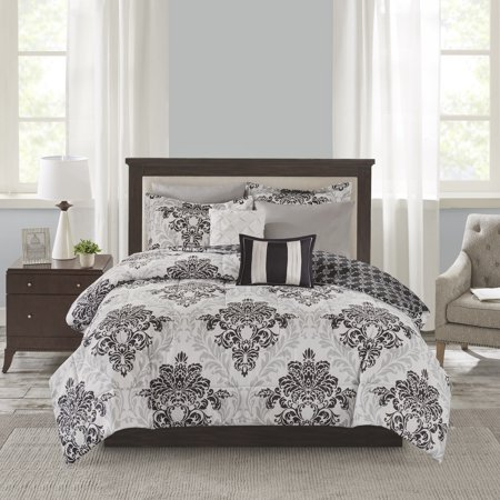 Mainstays 8 Piece Comforter Set with Coverlet, King, Black
