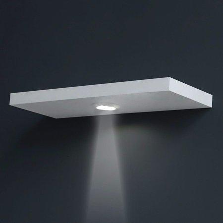 welland 24 floating wall shelf with led light white. Black Bedroom Furniture Sets. Home Design Ideas