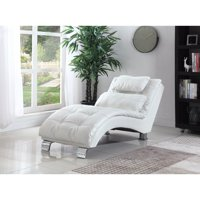 Exuberant White Chaise With Sturdy Chrome Legs