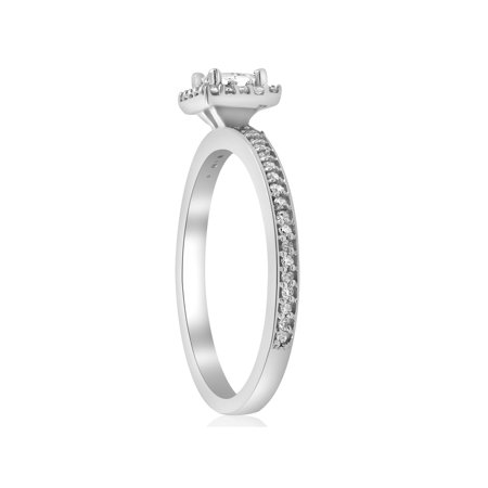 1/2ct Princess Cut Genuine Diamond Halo Engagement Ring 14K White Gold Jewelry - image 2 de 4