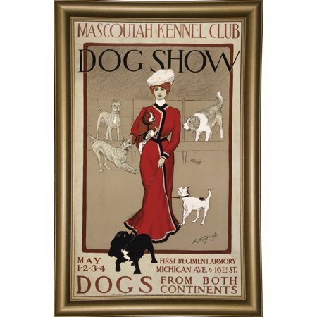 "Mascoutah Kennel Club-VINAPP116926 Print 30""x18.25"" by Vintage Apple Collection in a Bistro Gold"