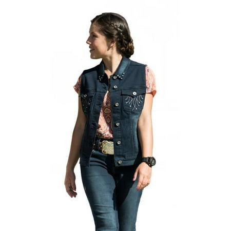 2kGrey 2K918S Ladies Denim Embroidered Vest, Indigo Blue - Small - image 1 de 1