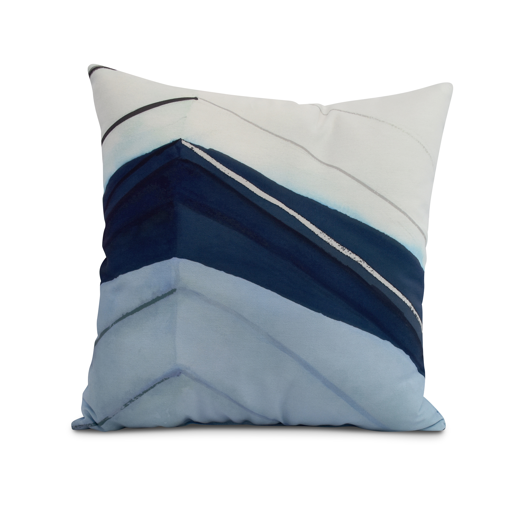 Simply Daisy, 20 x 20 inch, Boat Bow Left, Geometric Print Pillow, Blue