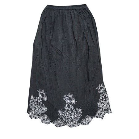 Mogul Women's Peasant Skirt Black Floral Ethnic Embroidered Rayon Skirts](Peasant Skirt)