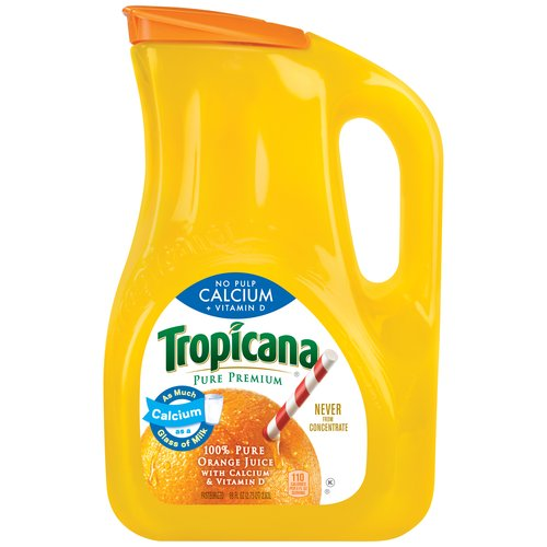 Tropicana Pure Premium No Pulp Calcium + Vitamin D Orange Juice, 89 fl oz