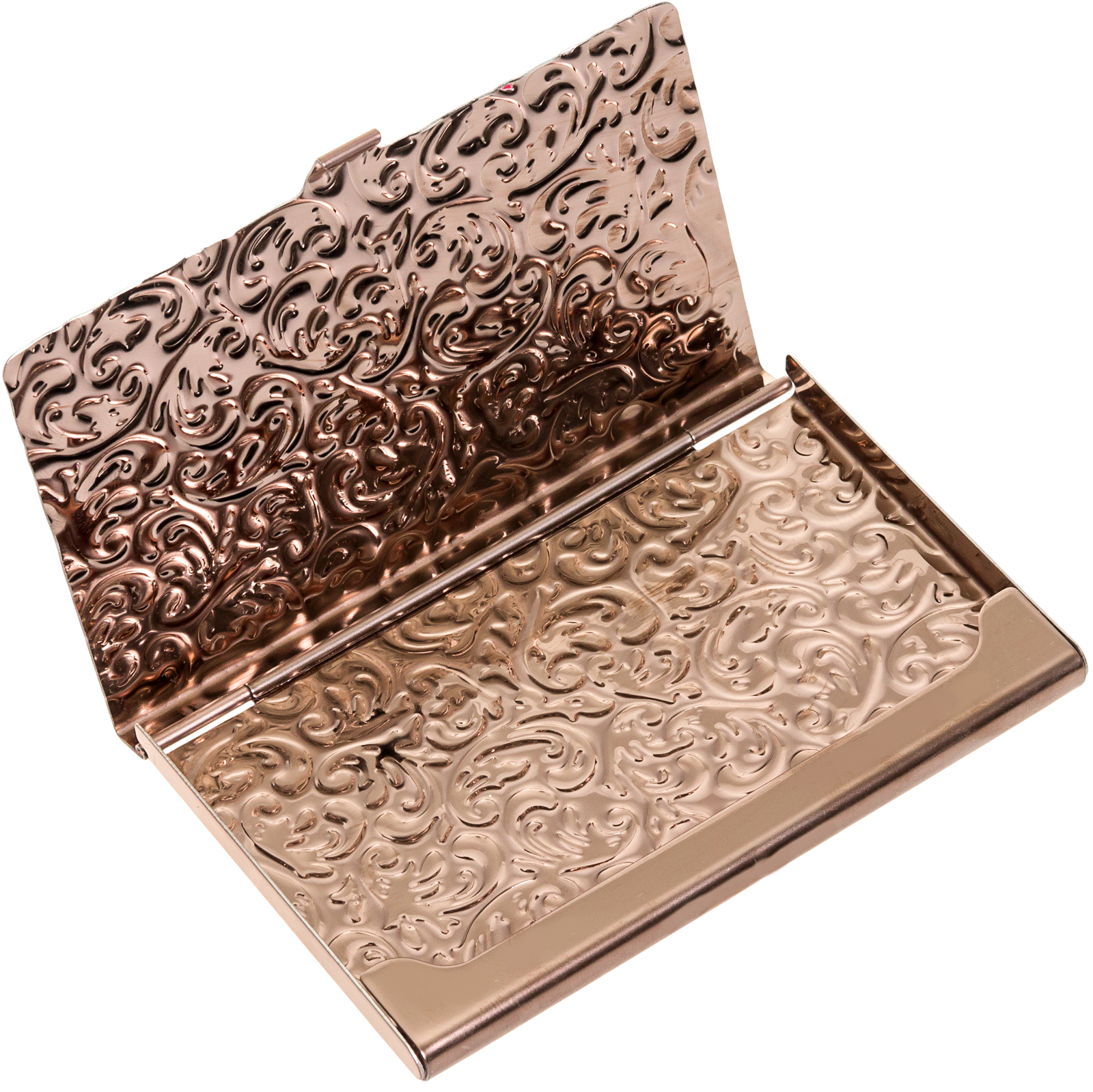 silverhooks new damask embossed metal business card holder id wallet walmartcom - Metal Business Card Case