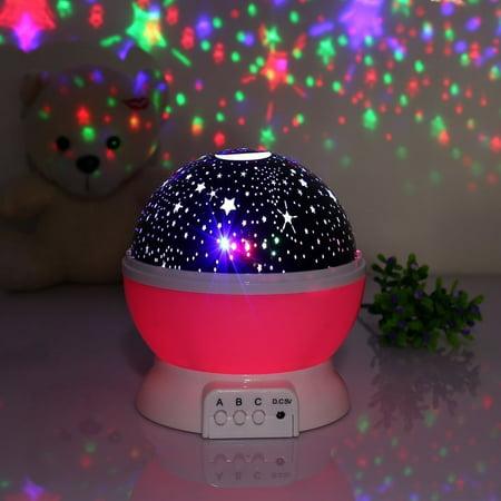 Baby Night Light  Lamp Uinstone Moon Star Projector 360 Degree Rotation Indoor Decoration Light  Pink