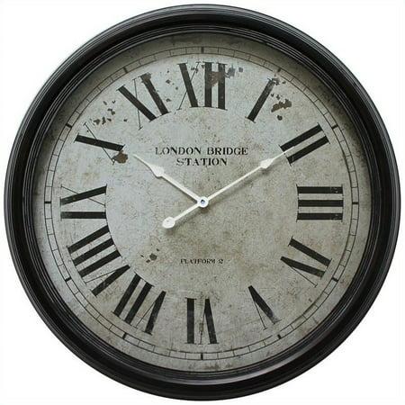 YOSEMITE HOME DECOR CLKA9B363ND Horloge murale en fer, cadre en fer vieilli noir avec verre - image 1 de 1
