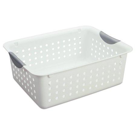 12) Sterilite 16248006 Medium Ultra Plastic Storage Bin Organizer Basket White by