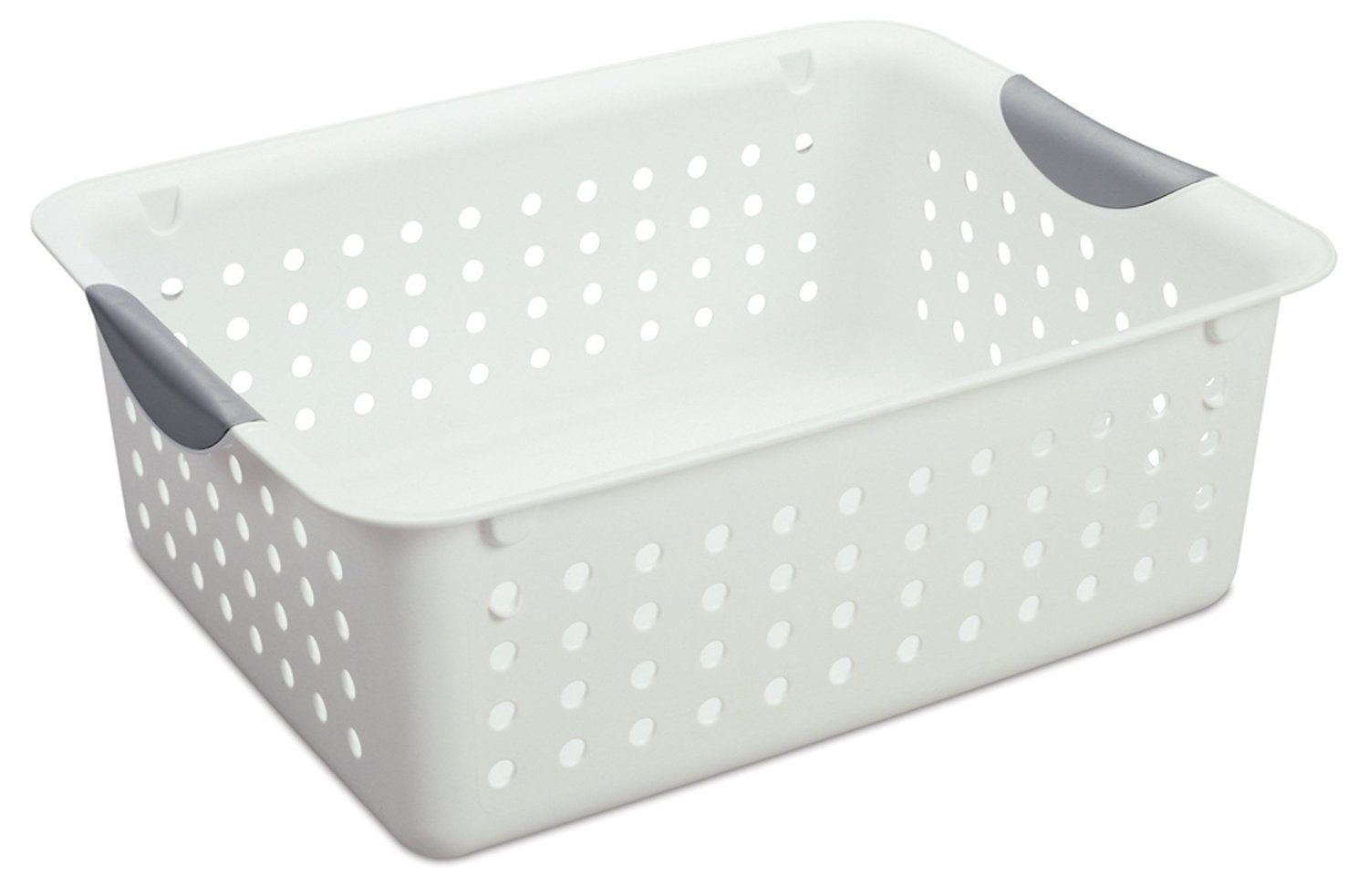 Click here to buy 12) Sterilite 16248006 Medium Ultra Plastic Storage Bin Organizer Basket White by Sterilite.