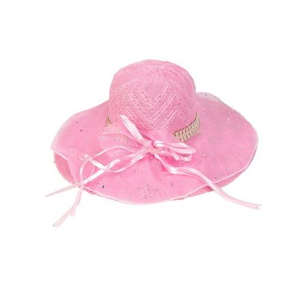 Pink Single Layer Chiffon Bowknot Detail Woven Sun Cap Hat