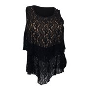 eVogues Plus size Layered Lace Sleeveless Top Black