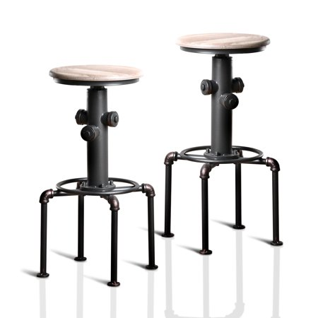 Excellent Furniture Of America Folley Industrial Bar Stool Set Of 2 Antique Black Gmtry Best Dining Table And Chair Ideas Images Gmtryco