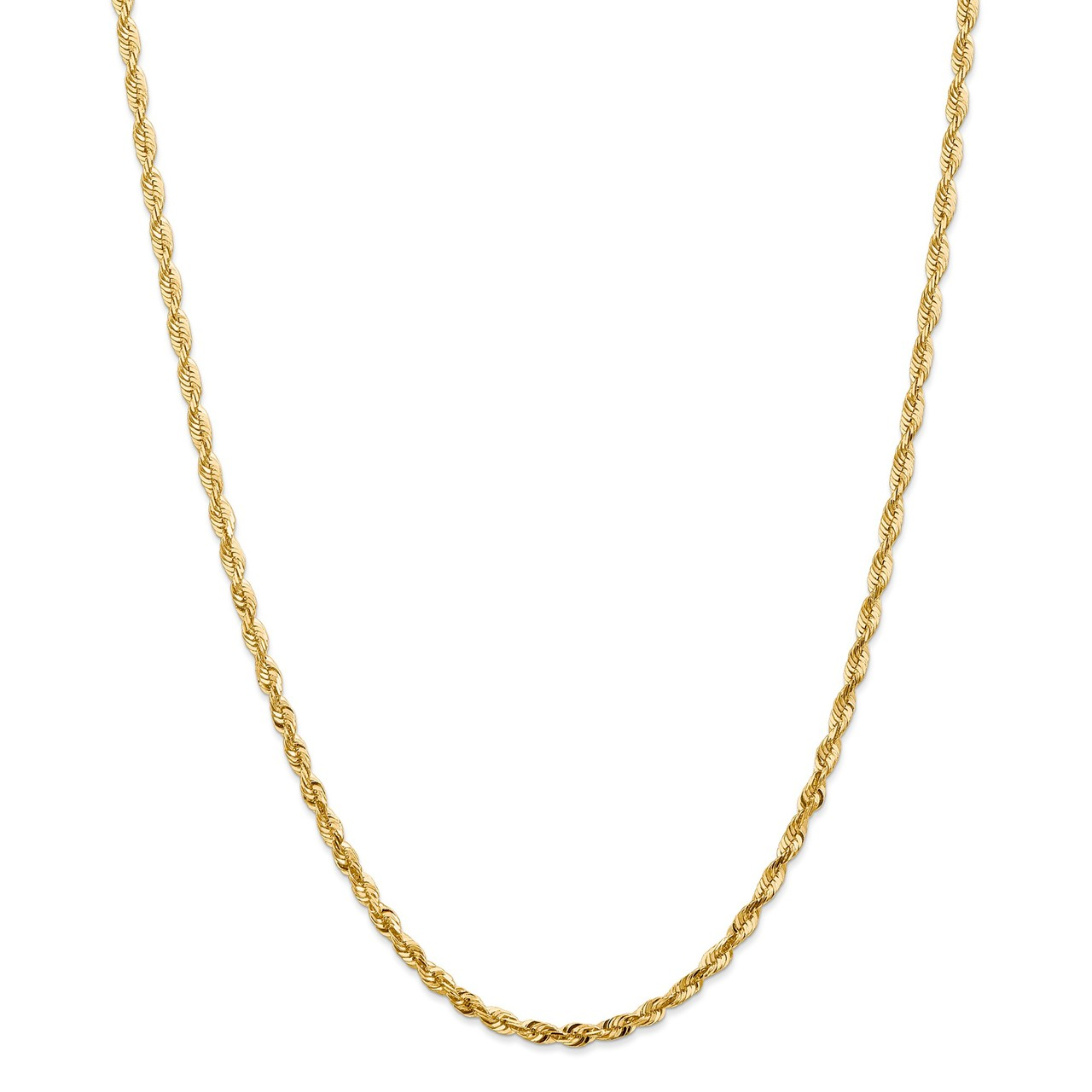 Lex & Lu 14k Yellow Gold 4mm D C extra-Light Rope Chain Necklace or Bracelet by
