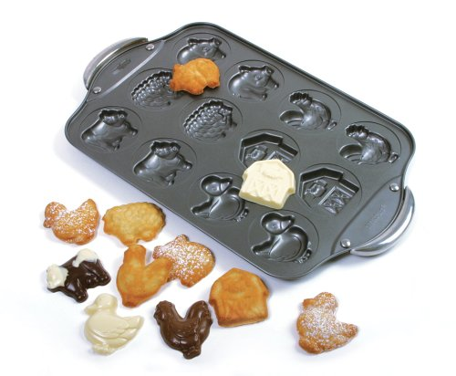 12 Cup Nonstick Farm Cookie Pan, Measures 17 inches x 11 inches x .5inches 43cm x 43cm s 1.25cm By Norpro by