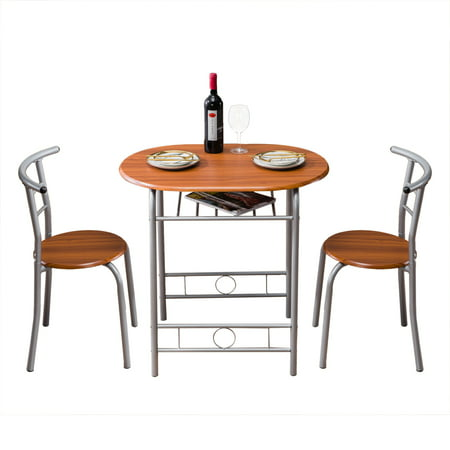 3 PCS Dining Table Set, Wooden Dining Set with Metal Frame and Shelf Storage, Dining Room Table Set with 2 Chairs, Small Kitchen Table Set, Restaurant Breakfast Bistro Pub Home Furniture, Brown, W6256 ()
