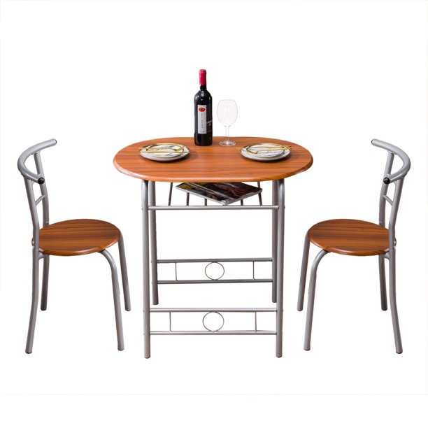 3 Piece Bistro Dining Set Wooden Dining Table Set With Metal Frame Round Table And Chair Set W Built In Wine Rack Kitchen Table Set Dining Room Restaurant Breakfast Pub Furniture Brown W6283