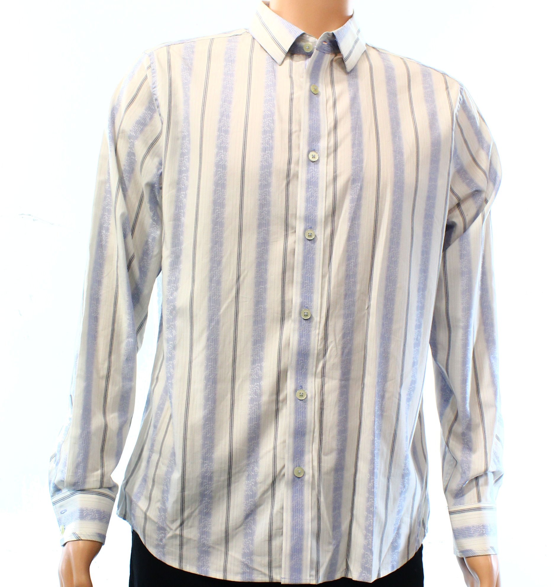 7 Diamonds NEW Blue White Mens Large L Stripe Button Down Shirt