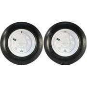 Two Trailer Tires On Rims 5.30-12 530-12 5.30 X 12 5 Hole Wheel White Spoke