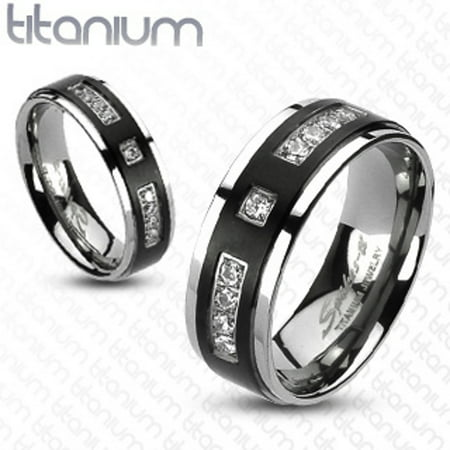 His & Her 4pc Black & Silver Stainless Steel & Titanium Wedding Ring Band Set Size Women