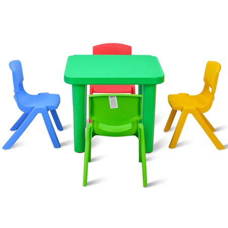 Kids Plastic Table and 4 Chairs Set Colorful Playroom School Home Furniture New - image 8 de 10
