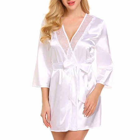 Lace V-neck Nightgown (Sexy Nightdress Women Lace V-Neck Robe Dress Babydoll Nightgown Sleepwear Pajamas, White )