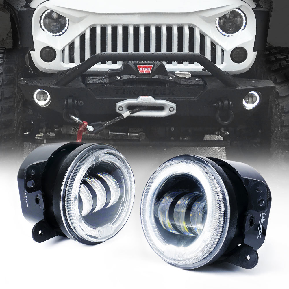 Cree Led Lights >> Xprite 4 60w Cree Led Fog Lights With White Halo For 2007 2018 Jeep Wrangler Jk