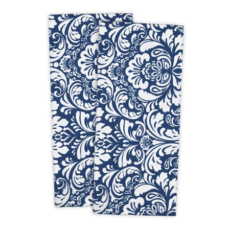 "Set of 2 Nautical Blue and White Damask Rectangular Dishtowels 18"" x 28"" ()"