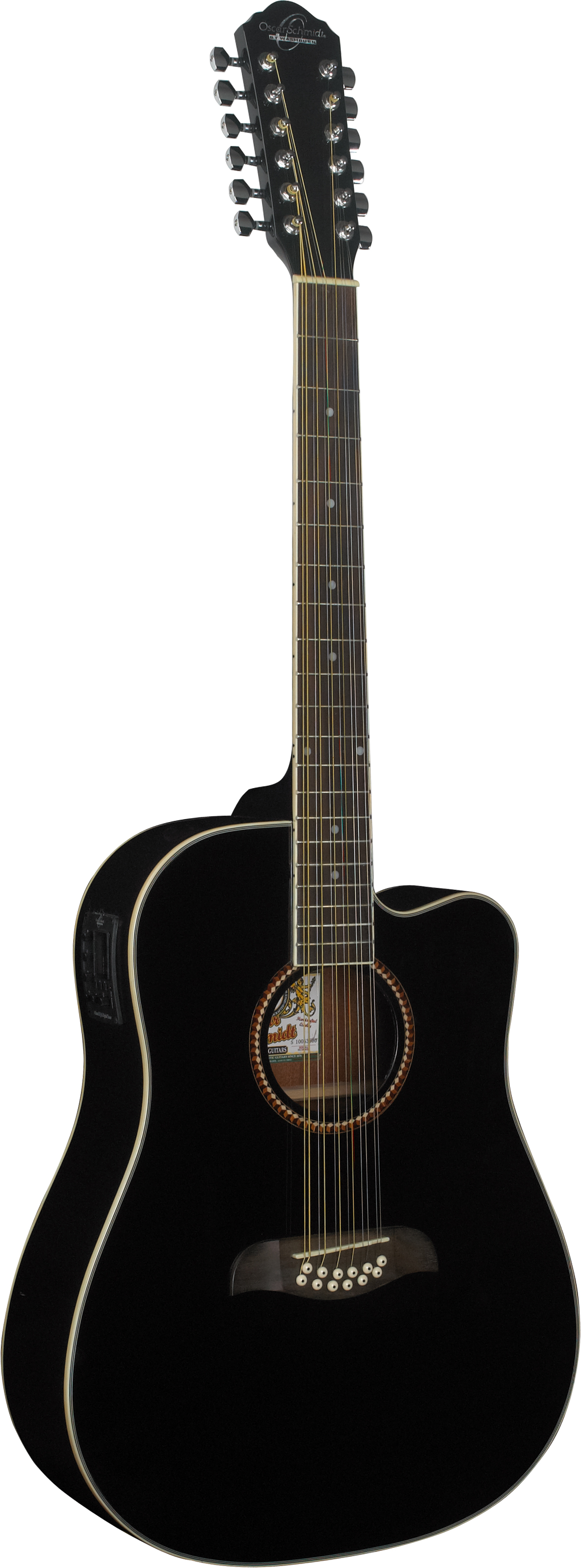 Oscar Schmidt 12-String Acoustic Electric Guitar. Black by KMC Music