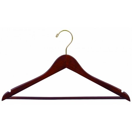 International Hanger Wooden Suit Hanger, Walnut Finish with Brass Hardware, Box of 50